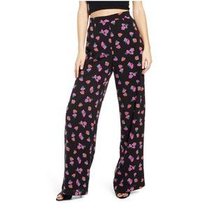 NEW WAYF Floral High Rise Wide Leg Pants Petal XS